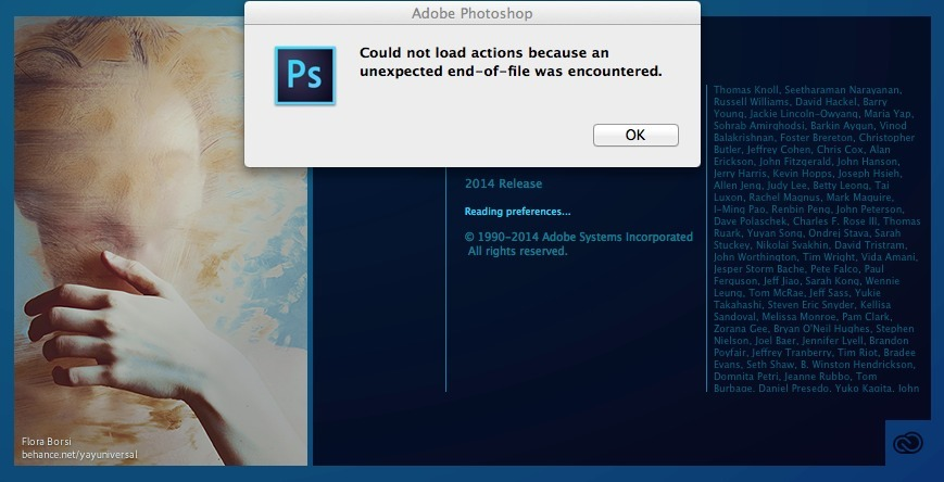 Fix: could not load actions because an unexpected end-of-file was encountered (Adobe Photoshop)
